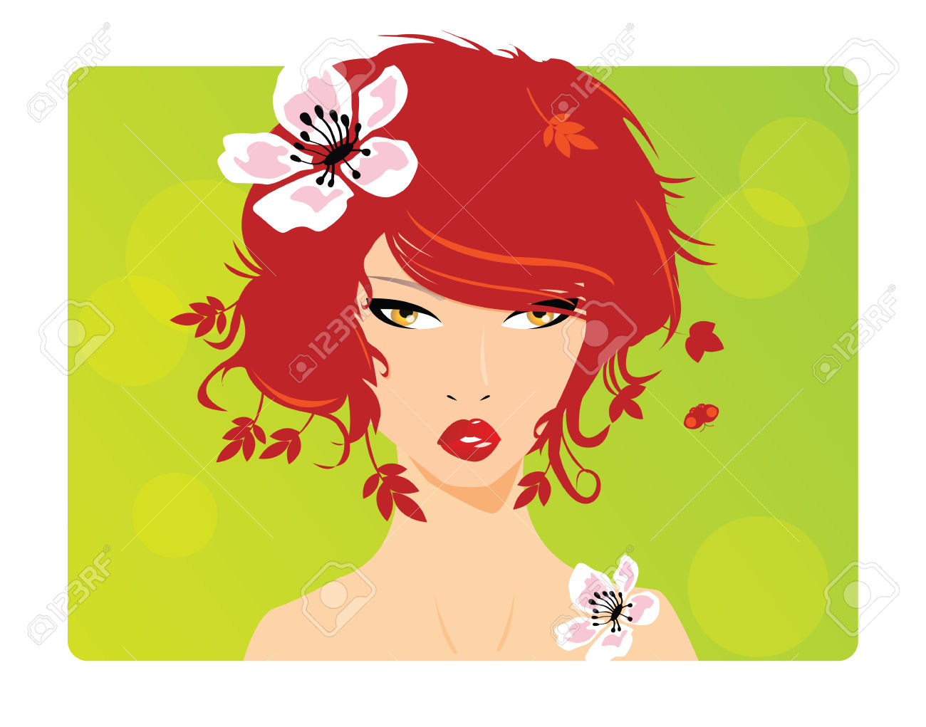 Portrait Of A Beautiful Girl With Red Hair, Ginger, And Flower.