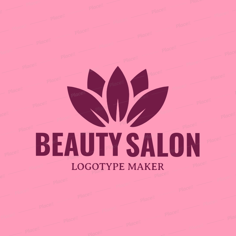 Beauty Salon Logo Maker with Lotus Flower Clipart 1137d.