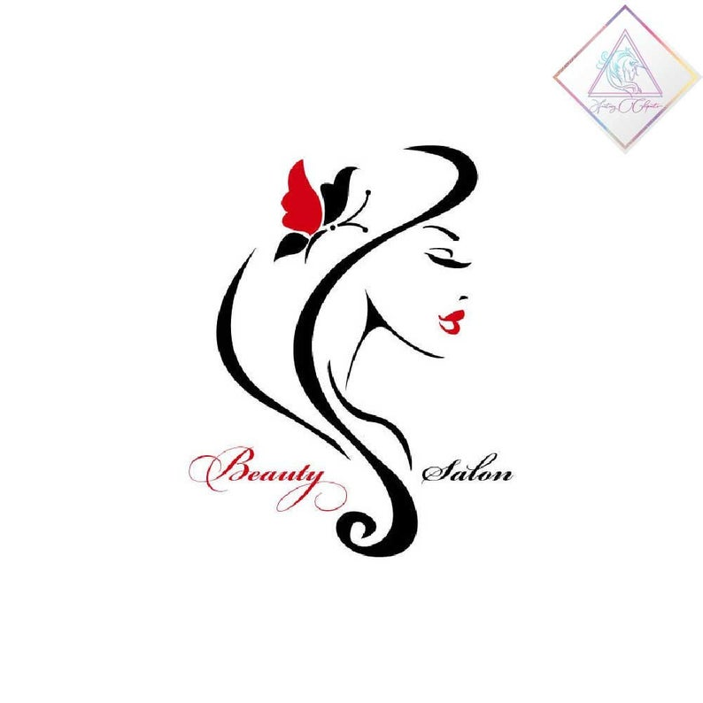 Beauty logo design, png and pdf format files, elegant woman with black and  red butterfly, premade logotype.