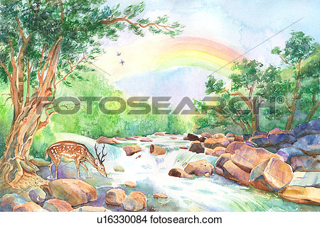 Painting of nature clipart.