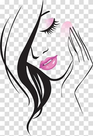 Beauty Parlour Illustration, Line fashion beautiful , woman portrait.