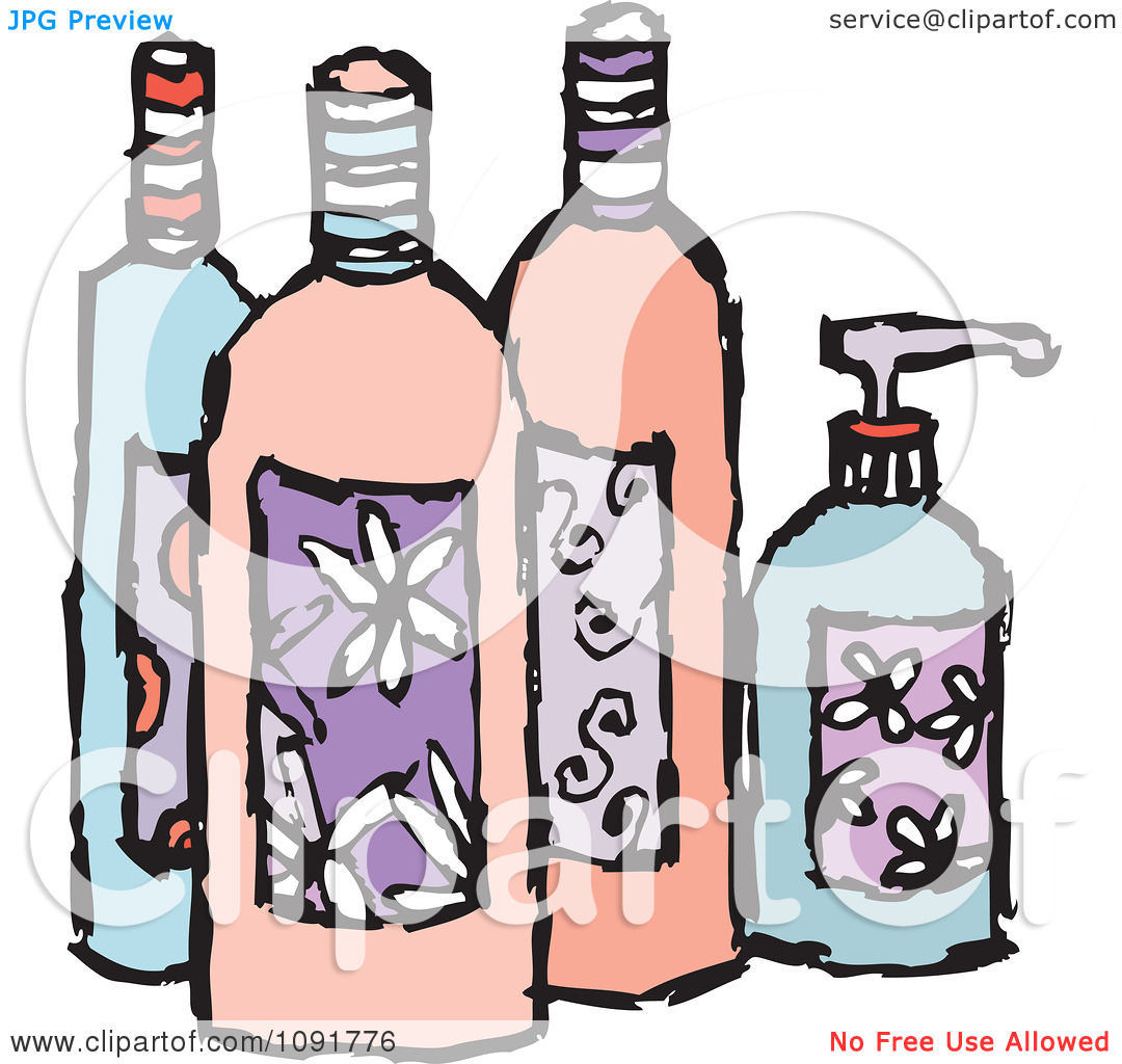 Clipart Feminine Beauty Product Lotion And Soap Bottles.