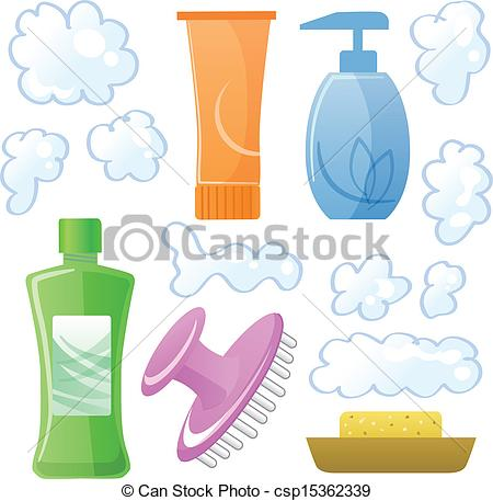 Vectors of Bottles of body and hair care and beauty products.