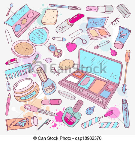 Vectors Illustration of Products for makeup and beauty.