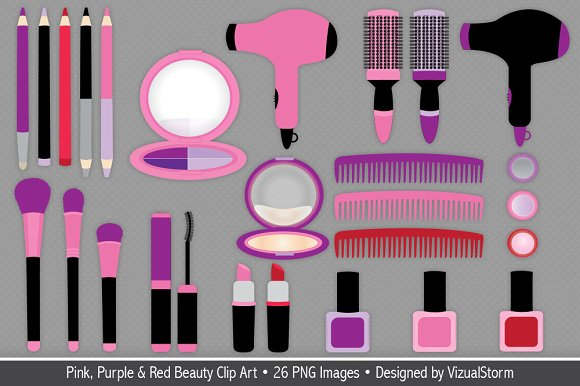 Pink & Purple Beauty Makeup Clip Art ~ Illustrations on Creative.
