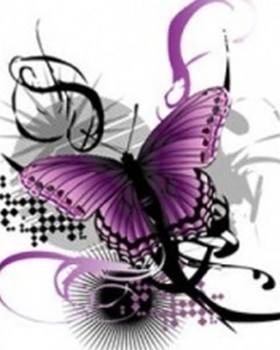 free clip art purple and black heart wings.