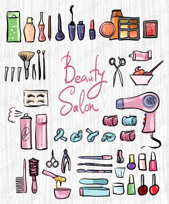 48 Beauty Salon Clipart, Hairstyle, spa salon, Сosmetics Clipart, lipstick  Clipart,nail polish bottle,cream bottle,scrapbooking clipart.