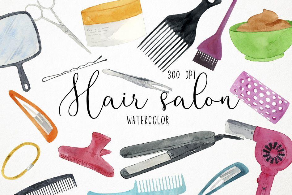 Watercolor Hair Salon Clipart, Beauty Salon Clipart.