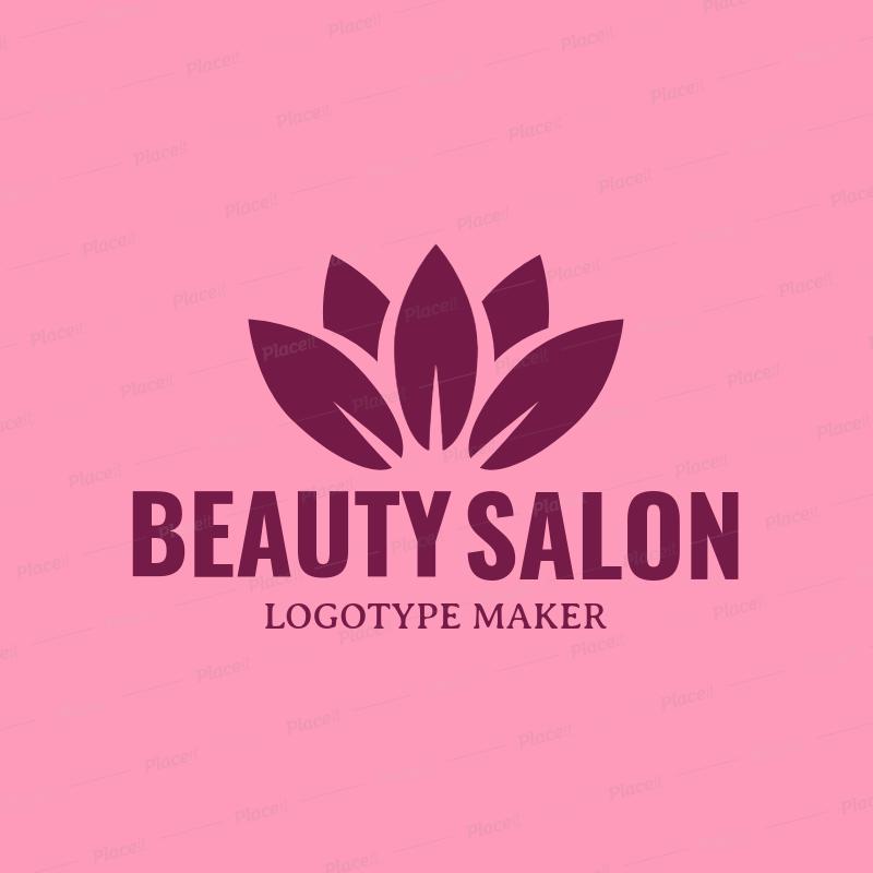 Beauty Salon Logo Maker with Lotus Flower Clipart 1137d.