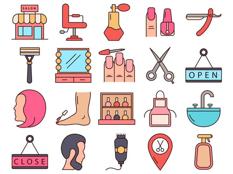Beauty Salon Vector Freebie Icon Set by DesZone.net.