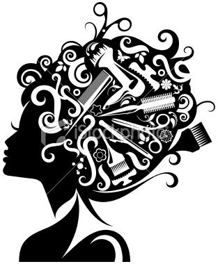 Lady's silhouette with hairdressing accessories composed with her.