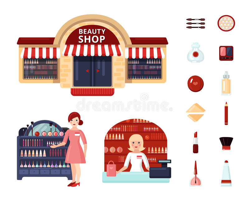 Beauty Store Icon Set Stock Illustrations.