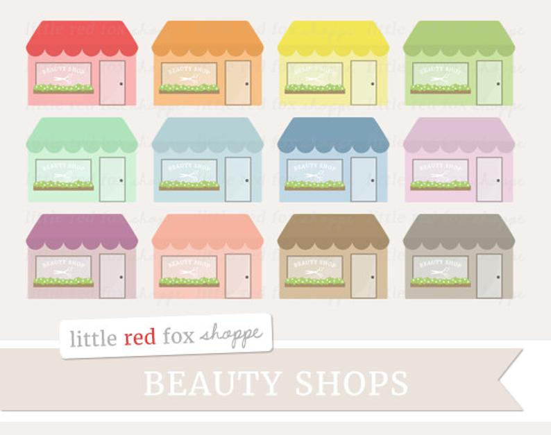 Beauty Salon Clipart, Beauty Shop Clip Art Hair Parlor Stylist Building  Business Store Icon Cute Digital Graphic Design Small Commercial Use.