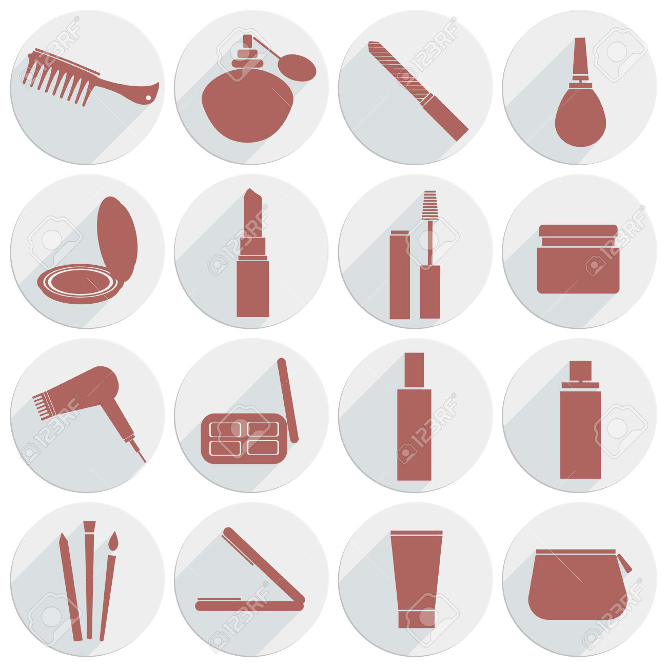 Vector, Icon, Beauty, Makeup, Comb, Cream, Hair, Lipstick, Mascara.