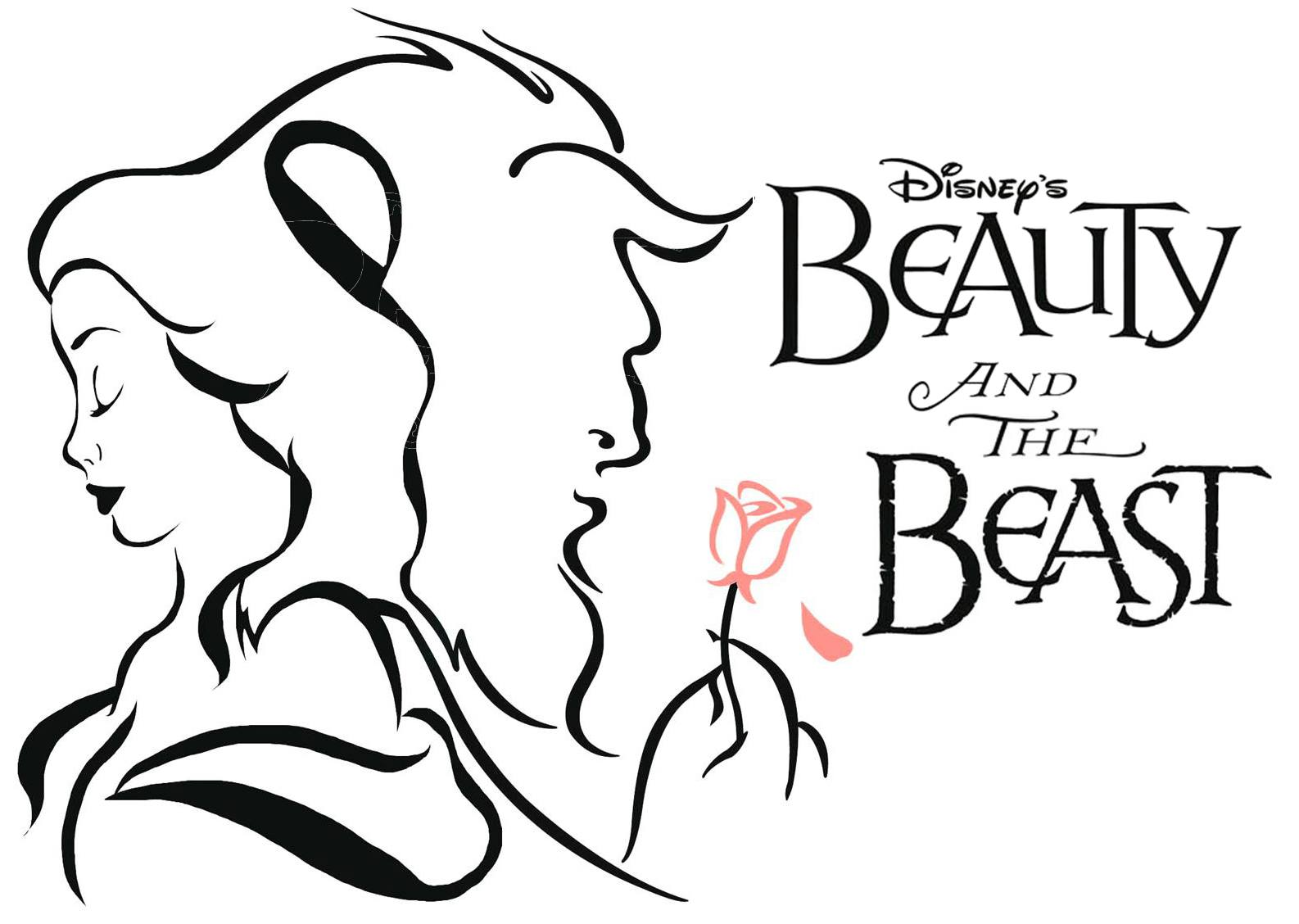 Beauty and the beast black white clipart 4 clipart station.