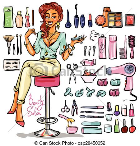 Clipart Vector of Beauty Salon cartoon collection..