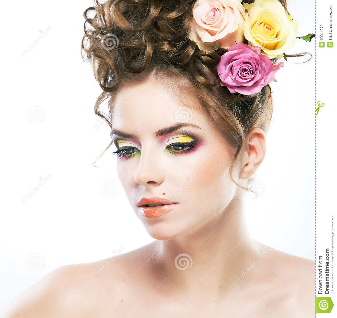 Beautiful Female Face With Beauty Spot And Flower Royalty Free.