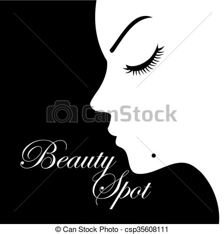 Vector Clip Art of Girl with a beauty spot on chin.