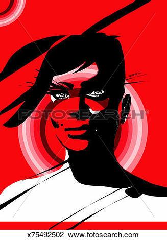 Clip Art of Woman with beauty spot, portrait x75492502.