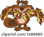 Clipart Illustration of a Carpenter Beaver Building With Wood.