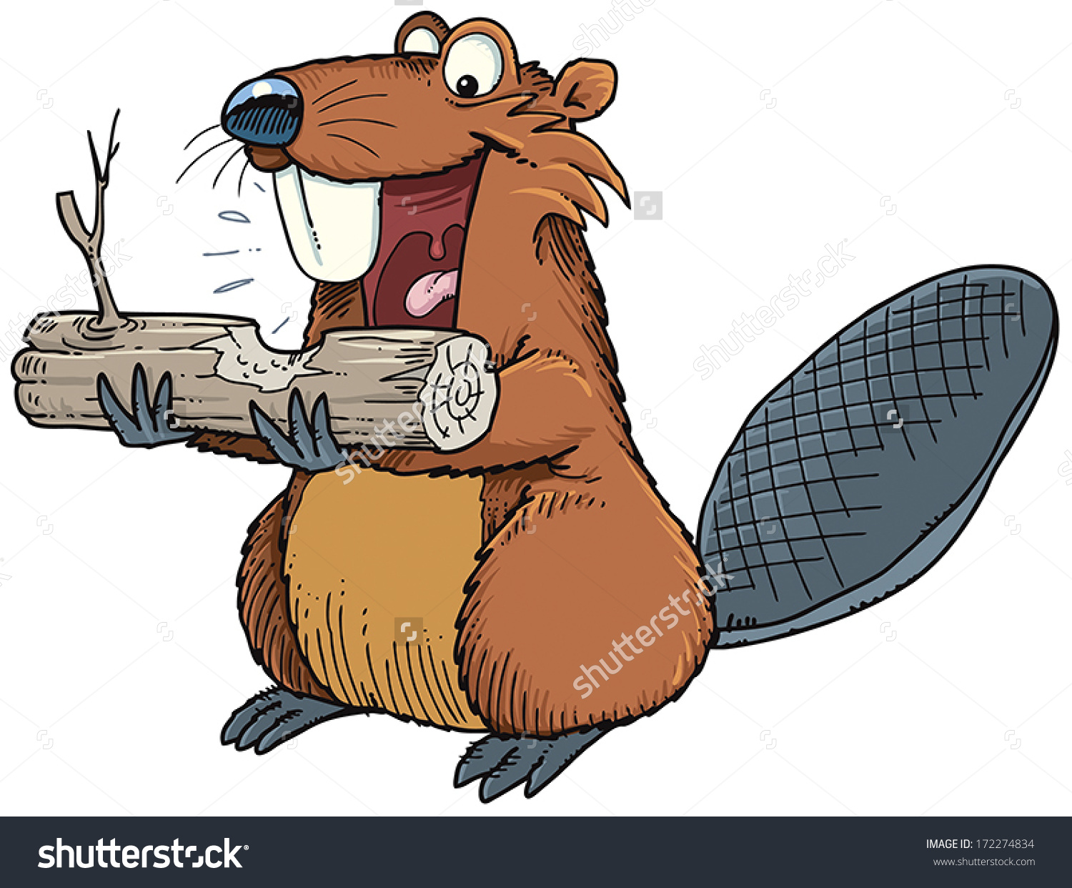Beaver Gnawing Wood Stock Vector 172274834.