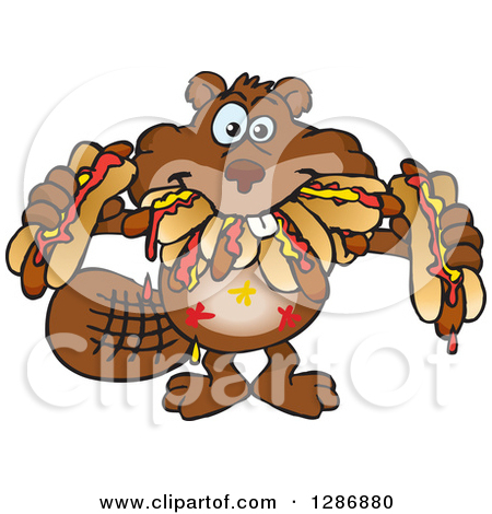 Clipart of a Hungry Beaver Shoving Weenies in His Mouth at a Hot.