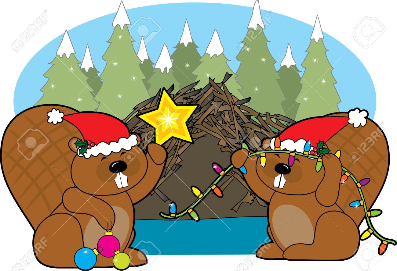 Two Beavers Decorating Their Home For Christmas Royalty Free.