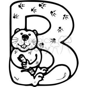Letter B Beaver clipart. Royalty.