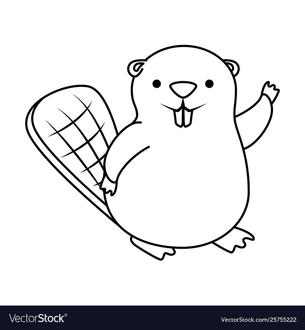 Cute beaver mascot animal icon.