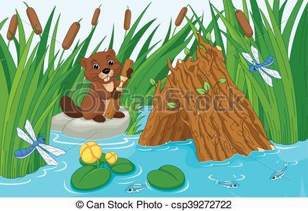 Vector Illustration of Beaver Lodge.
