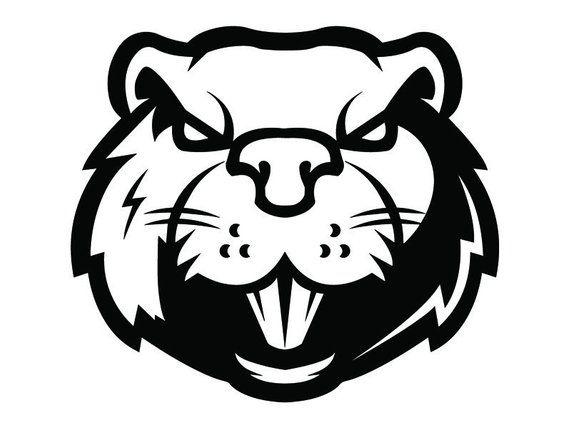 Beaver #1a Head Face Animal Angry Cartoon College High School Team.