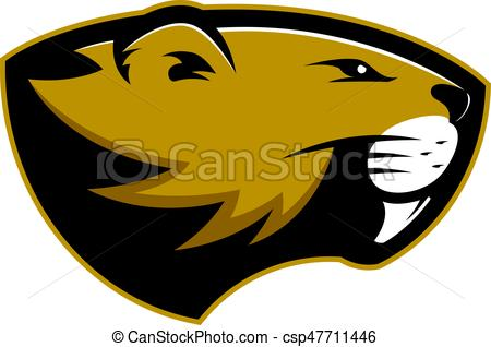 Beaver head mascot.
