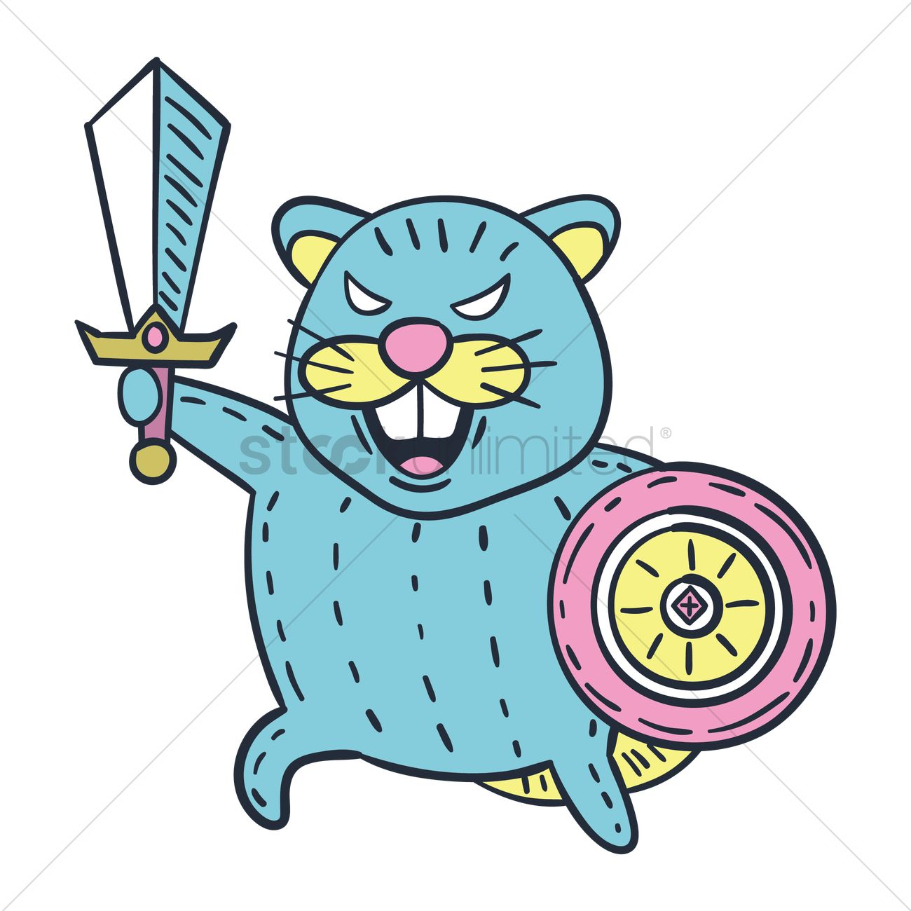 Cartoon beaver with sword and shield Vector Image.