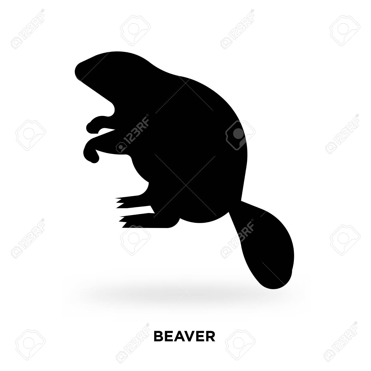 beaver silhouette Vector illustration..