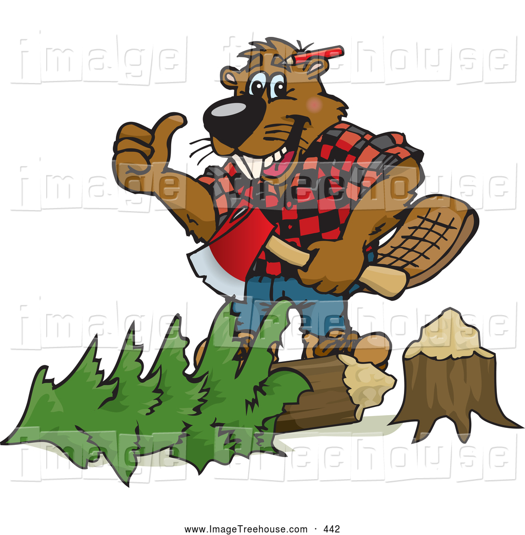 Clipart of a Grinning Lumberjack Beaver Holding an Axe over a Tree.