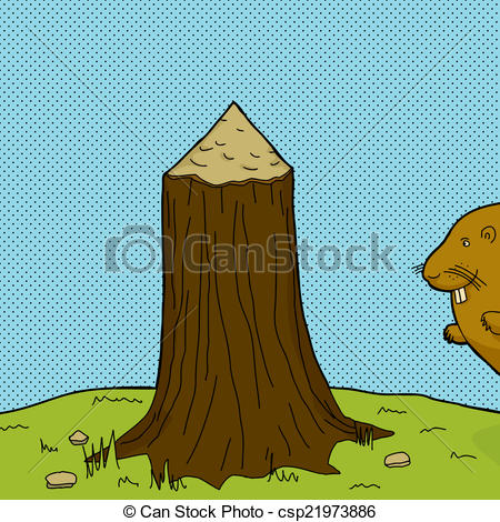 Vector of Tree Stump and Beaver.