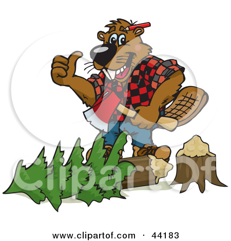Clipart of a Happy Builder Beaver Giving a Thumb up.