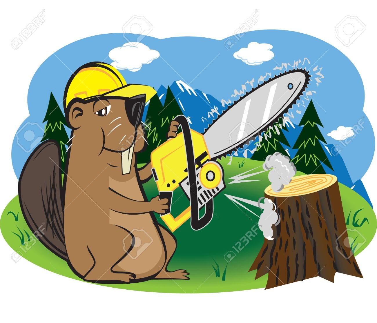 Beaver with chainsaw clipart.