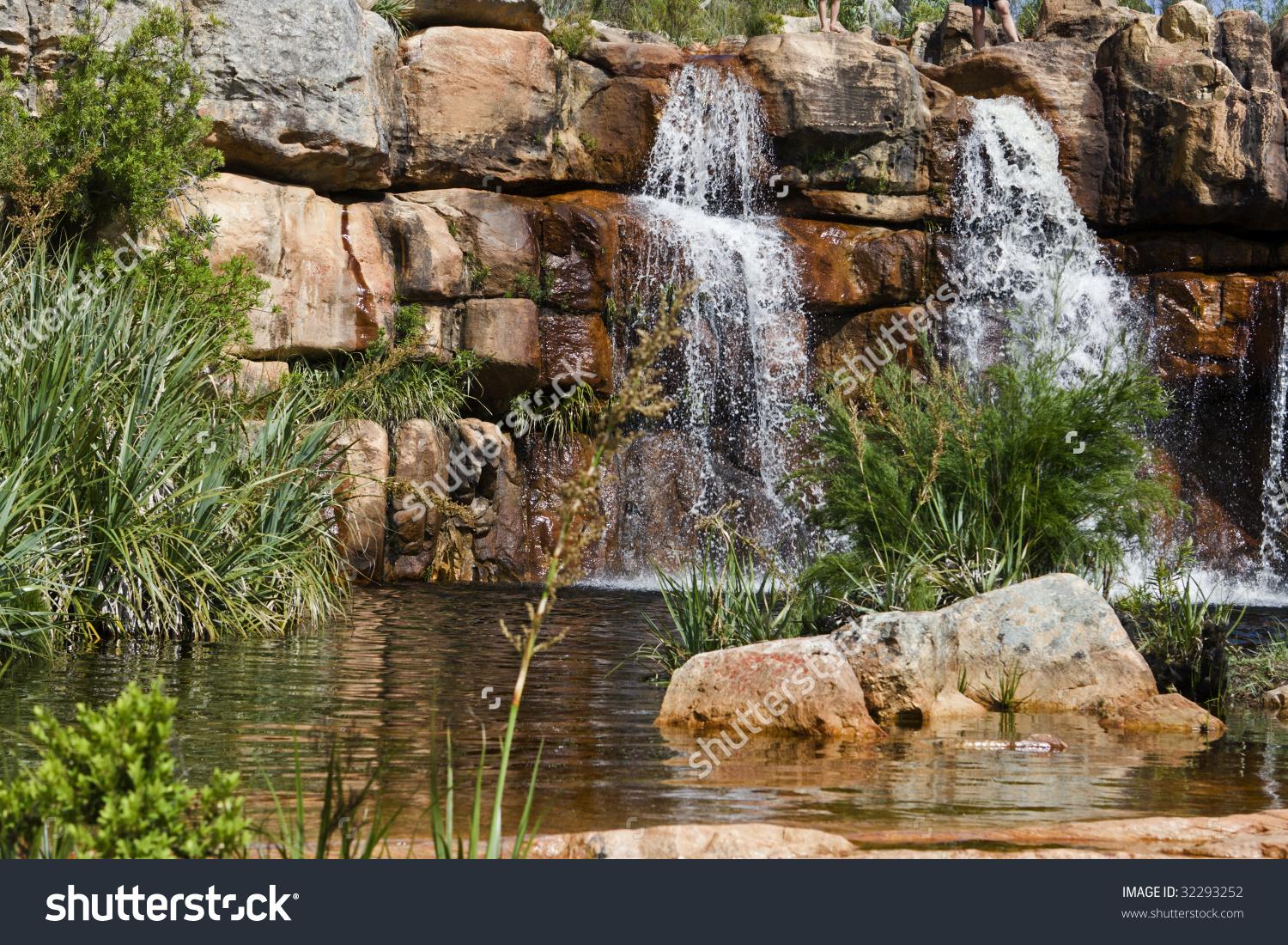 Waterfall Beaverlac Cederberg Mountains On Farm Stock Photo.