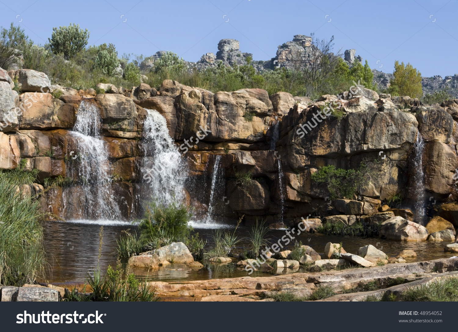 Panorama Of A Waterfall In The Cederberg Mountains Of South Africa.