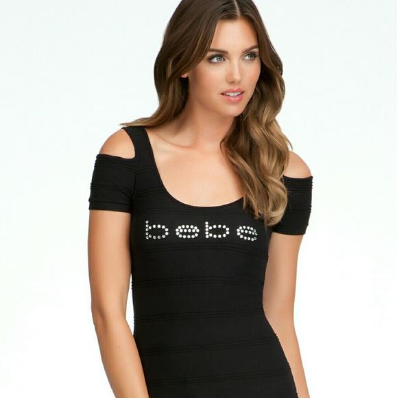 NWT Womens Bebe Black Rhinestone Logo T Shirt.S. NWT.