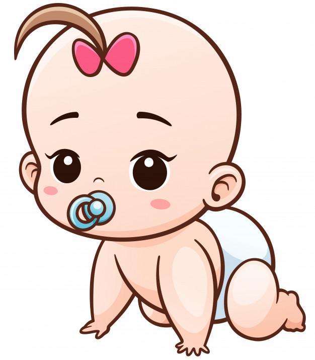 Dibujos animados bebé aprender a gatear.