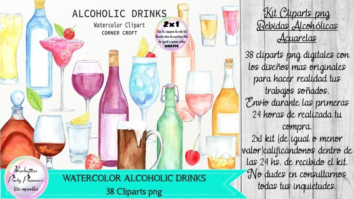 Cliparts Imagenes Png Bebidas Alcohólicas Acuarela.