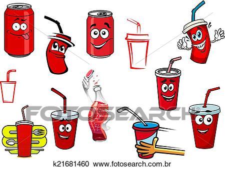 Caricatura, cola, e, soda, bebidas Clipart.