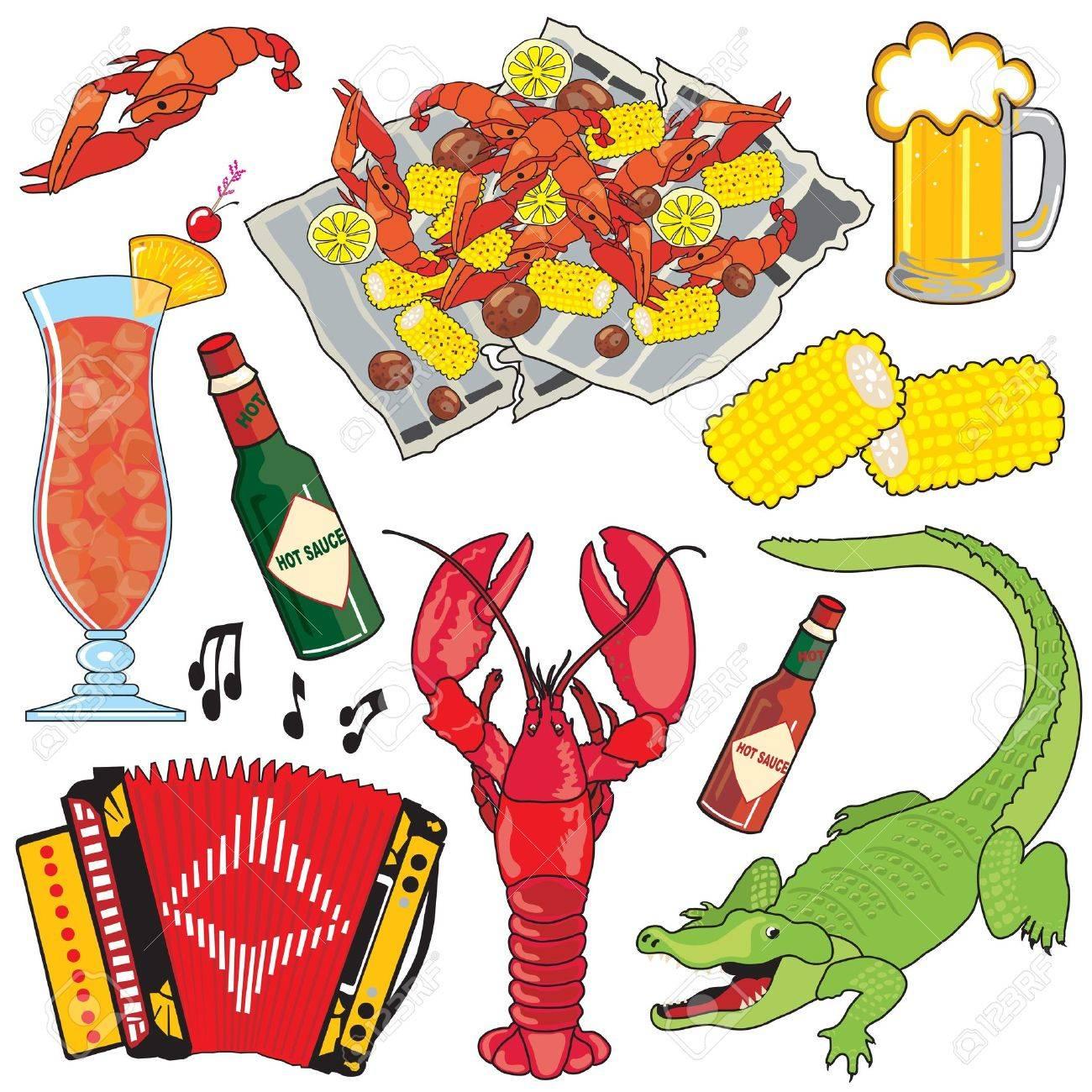 Cajun comida, música y bebidas clipart iconos y elementos.