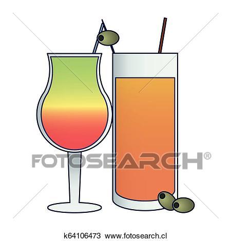 Cócteles, y, bebidas Clipart.