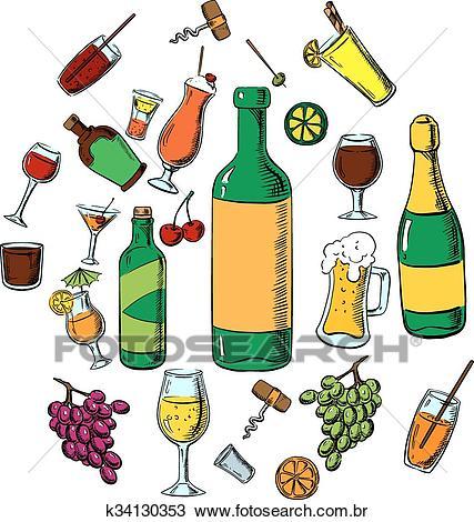 Coquetéis, álcool, bebidas, e, bebidas Clipart.