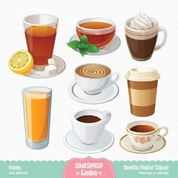 Kit Imprimible Bebidas Cafe 7 Imagenes Clipart.