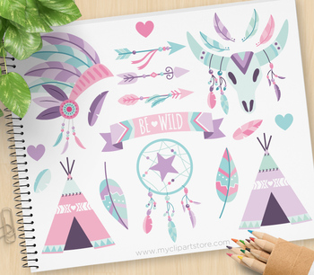 Tribal Boho Elements (2) Clipart, Aztec, Navajo, American Indian.