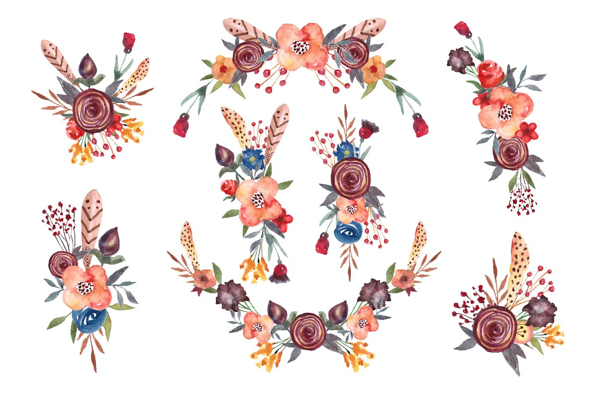 Floral,boho clipart, wreath,flowers.